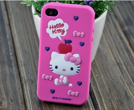 Special discount hello kitty 3D SILICONE CELLPHONE CASES for iphone 4,bumper SOFT COVER,Flexible PROTECTOR FOR apple 4S/4G(China (Mainland))