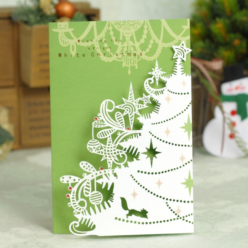 Гаджет  2014 creative paper-cut 30 percent of holiday cards Christmas cards, high grade business gift cards 8 pieces/set None Офисные и Школьные принадлежности