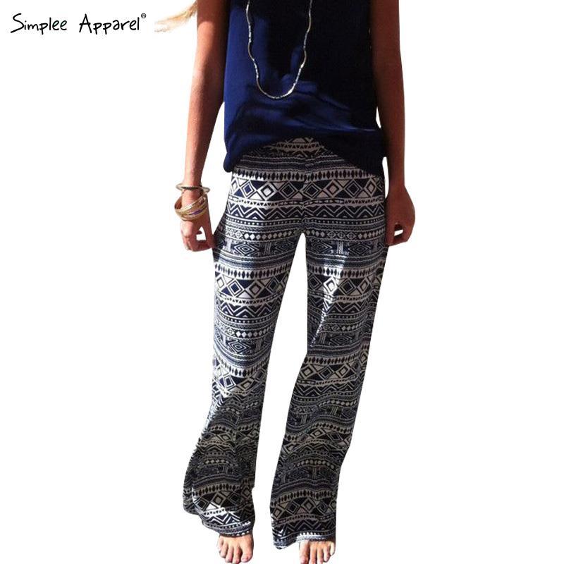 Simplee Apparel Geometric black white palazzo pants Plus size summer style casual pants Loose trousers women exuma boho pants(China (Mainland))