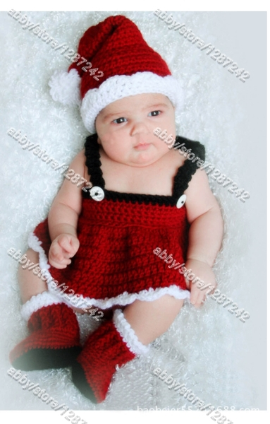 EMS 3-5DAYS free shipping 5sets /lot 0-6month wholesale infant newborn toddler crochet santa hat knitted christmas beanie hat(China (Mainland))