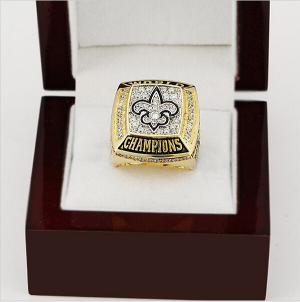 2009 New Orleans Saints XLIV Super Bowl Football Championship Ring Size 10-13 With High Quality Wooden Box Fans Best Gift(China (Mainland))