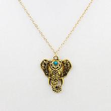 Antique Elephant Dây Chuyền Mặt Dây Tộc Xanh Hạt Choker Dài Liên Kết Chuỗi Vàng Màu Bạc Quyến Rũ Tuyên Bố Phụ Nữ Jewelry(China)