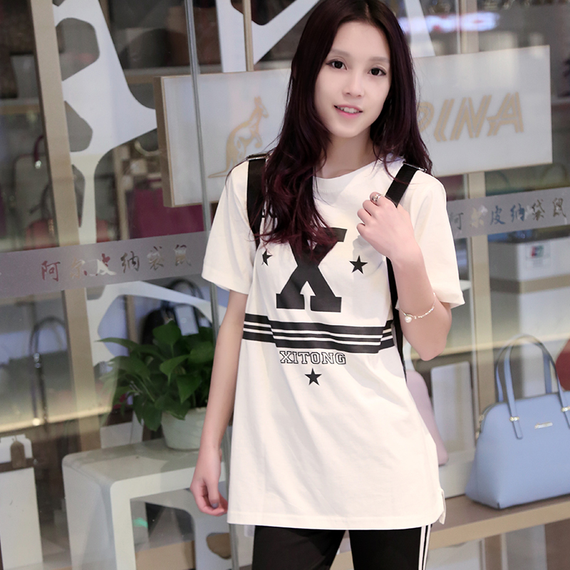 Summer Style 2015 Women Short Sleeve O-Neck Tshirt Fashion Ladies Letter X Print Long Cotton T-Shirt Casual Plus Size Tee Tops - BestHeart store
