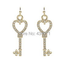 Wholesale jewelry wholesale manufacturers contracted golden key earrings A clearance sale without discount(China (Mainland))