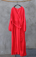 Johnature 2019 אביב כותנה פשתן חדש V-צוואר Loose מוצק צבע ארוך בציר שמלת חדש 3 צבעים סיני סגנון נשים שמלות(China)