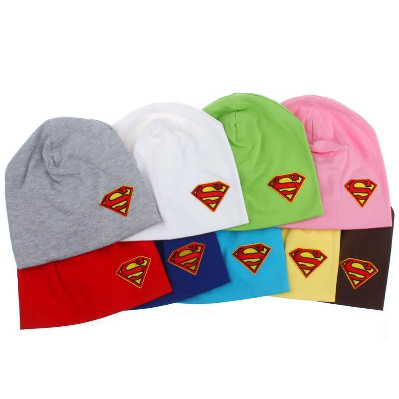 Boys Girls Super Cool Spring Autumn Baby Cotton Beanies Baby Superman Design Hat Caps Newborn Photo Props(China (Mainland))