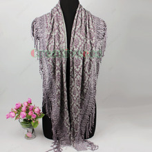 New Stylish Vintage Unique Tribal Style Printed Lace TrimLong Tassel Triangle Scarf Shawl Wrap New