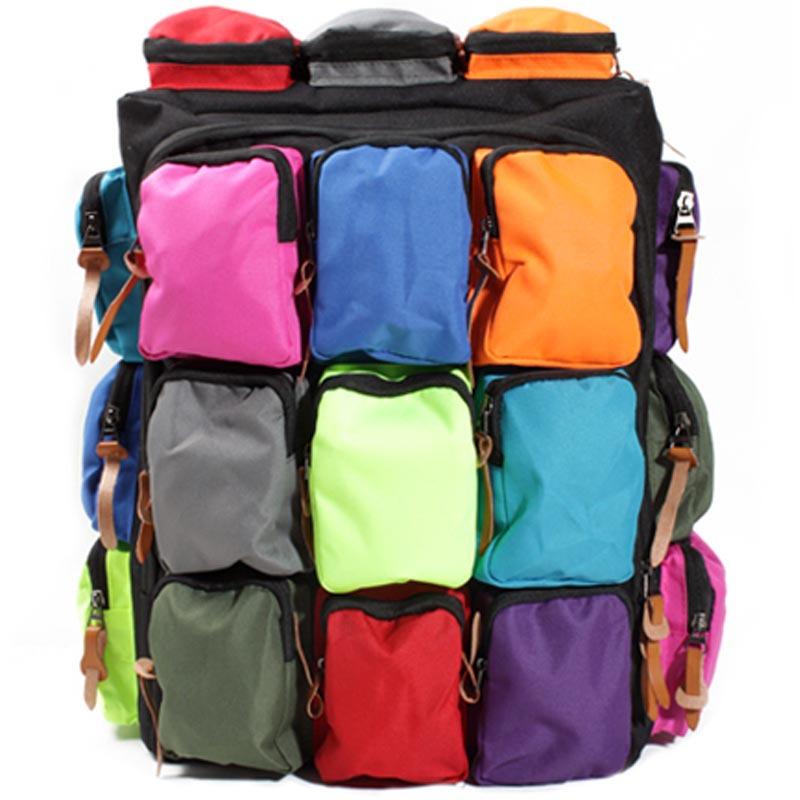 2015 new arrival backpacks canvas colorful pocket bag