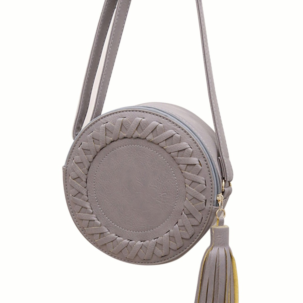 Women's Messenger Bags Fashion Tassel Round Weave Crossbody Bags Ladies Circular Candy Color Shoulder Bag Small Zipper Handbags(China (Mainland))