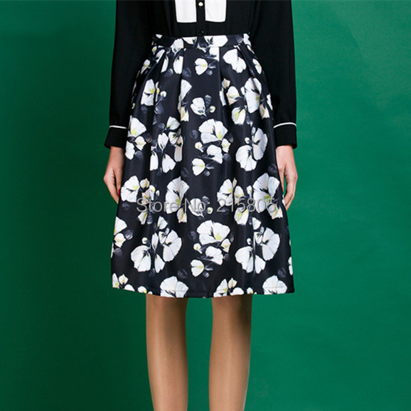 2016 Spring Autumn Women Black Flower Print Skirts Pleated Knee Length New Midi Casual High Waisted Line - LOOKWEEN store