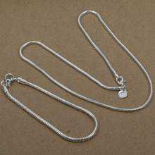 Wholesale! Free shipping! high quality 925 Sterling silver fashion jewelry, 3Mm Snake Bone Chain Two-Piece Jewelry Set S076(China (Mainland))