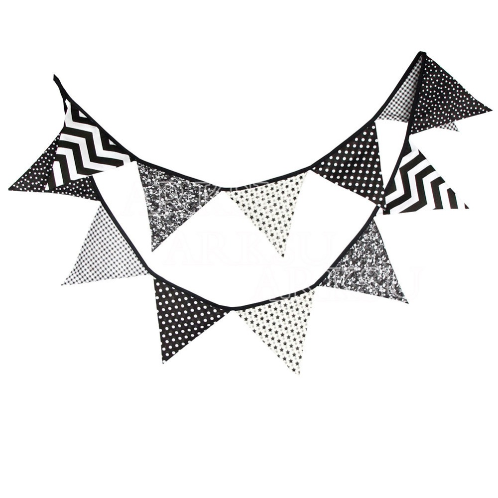 5PCS Cotton Banner Pennant Wedding Party Decoration Black White Wave Stars 12Flags(China (Mainland))