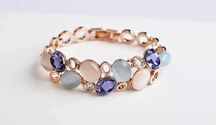 Opal & Austrian Crystal Classic Design Gold Plated Alloy Bangles Bracelets Jewelry Women Ladies Wedding Gifts Jewellery BSL0121 - MJSZ store Min. Order $ 10 USD