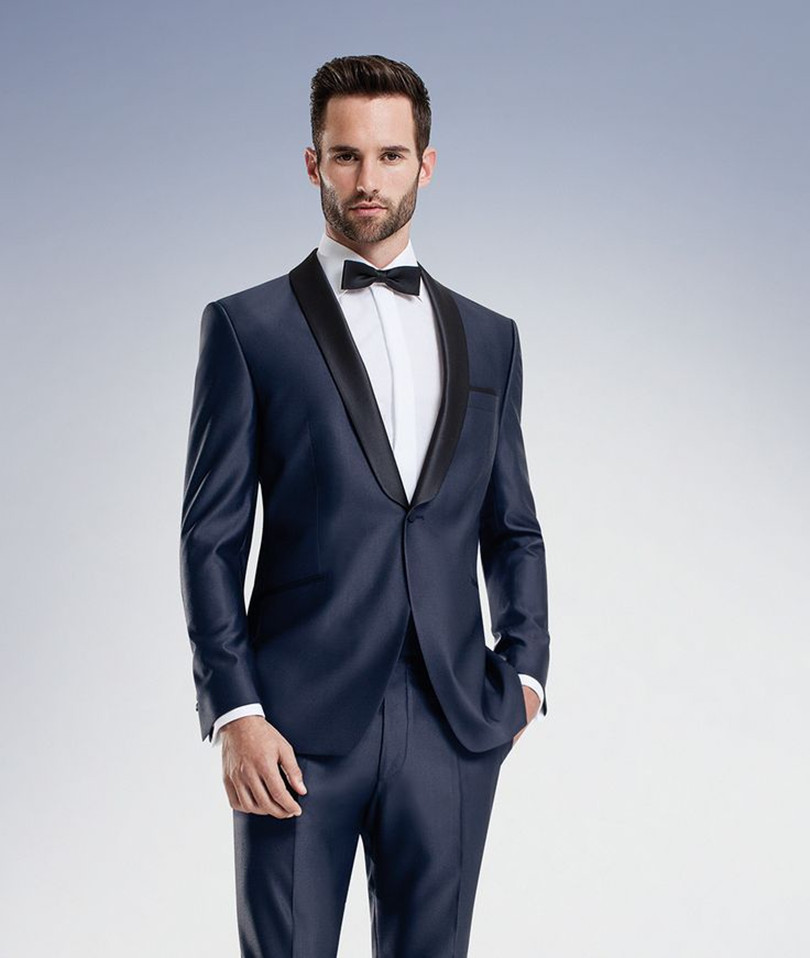 mens suits wedding groom navy blue prom men wear custom made suit 2015 - yan xiong's store