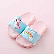 Unicorn כפכפים עבור ילד ילדה קשת נעלי 2019 קיץ לפעוטות בעלי החיים ילדים מקורה תינוק נעלי בית PVC Cartoon ילדי נעלי בית(China)
