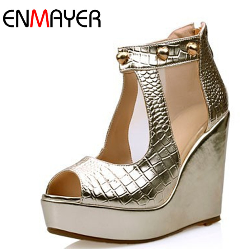 ENMAYER new spring summer wedges high heels pumps open toe gold silver shoes woman fashion sandals nude zipper - Shop408473 Store store
