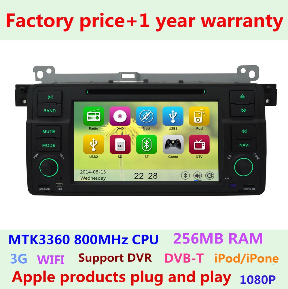 Factory price Car DVD Player For BMW 3 Series E46 1998-2006 M3 318 320 325 Rover 75 MG ZT Bluetooth Radio GPS Navigation 3G WIFI(China (Mainland))