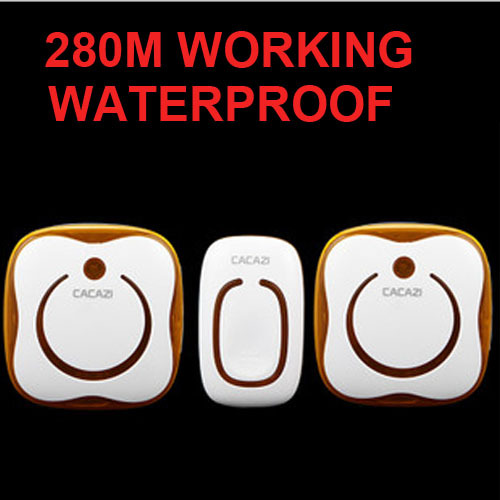 new CACAZI Waterproof 280M Long-range wireless doorbell,wireless door chime,wireless bell,door bell,48 melodies &amp; 16 chord<br><br>Aliexpress