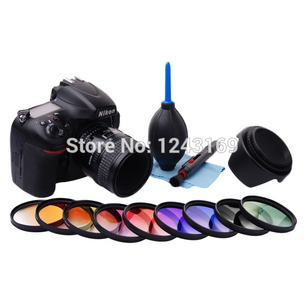 58mm Graduated Color Filter Kit Orange Blue Grey Red Green Purple Pink Yellow Brown For DSLR Camera LF498<br><br>Aliexpress