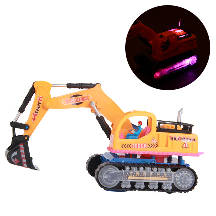 Music Excavator with Light Electric Toy Truck Can Rotate Traffic Tool Toys Birthday Gifts(China (Mainland))