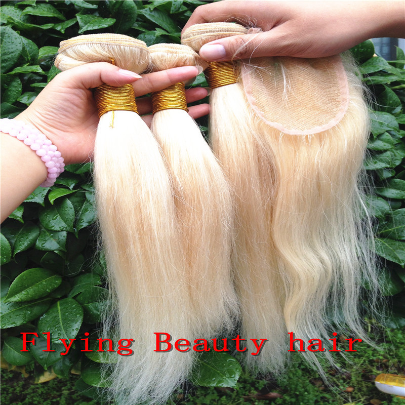 blonde closure 100%Indian human straight virgin hair lace - Flying Beauty Hair Products Co.,Ltd store