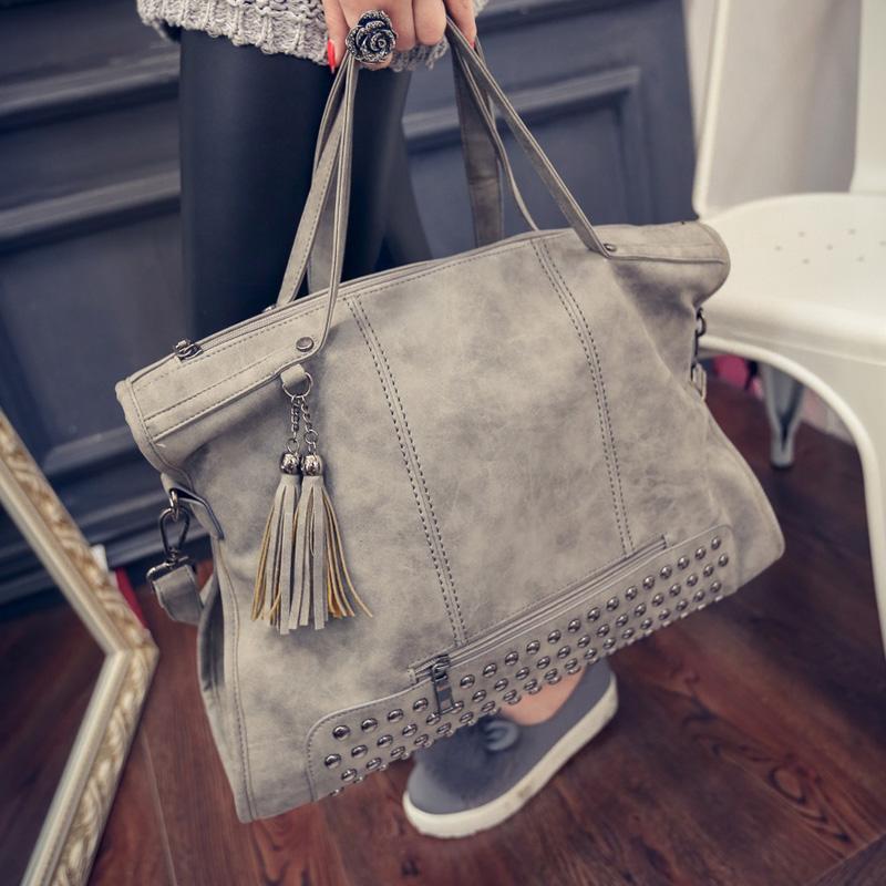 2015 women's handbag fashion vintage scrub tassel handbag messenger bag women's casual big bag sac a main femme de marque(China (Mainland))