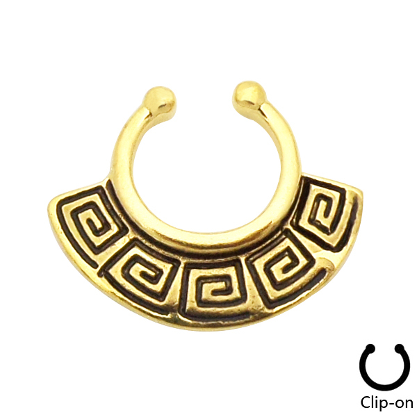 Indian Pattern Gold Anodized Clip On Fake Septum Clicker Daith Cartilage Tribal Fan Non Piercing Fake Nose Ring Hoop #FF70(China (Mainland))