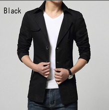 Free shipping wholesale2015 spring new men's casual fashion Slim short coat and long sections windbreaker jacket lapel(China (Mainland))