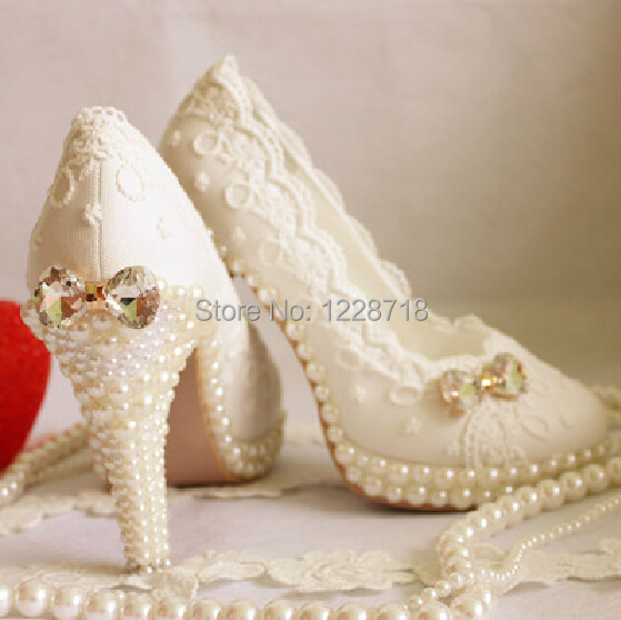 2014 new lace flower crystal bow wedding shoes bridal Evening party Shoes sapatos femininos women pump size 11 - Levvi store