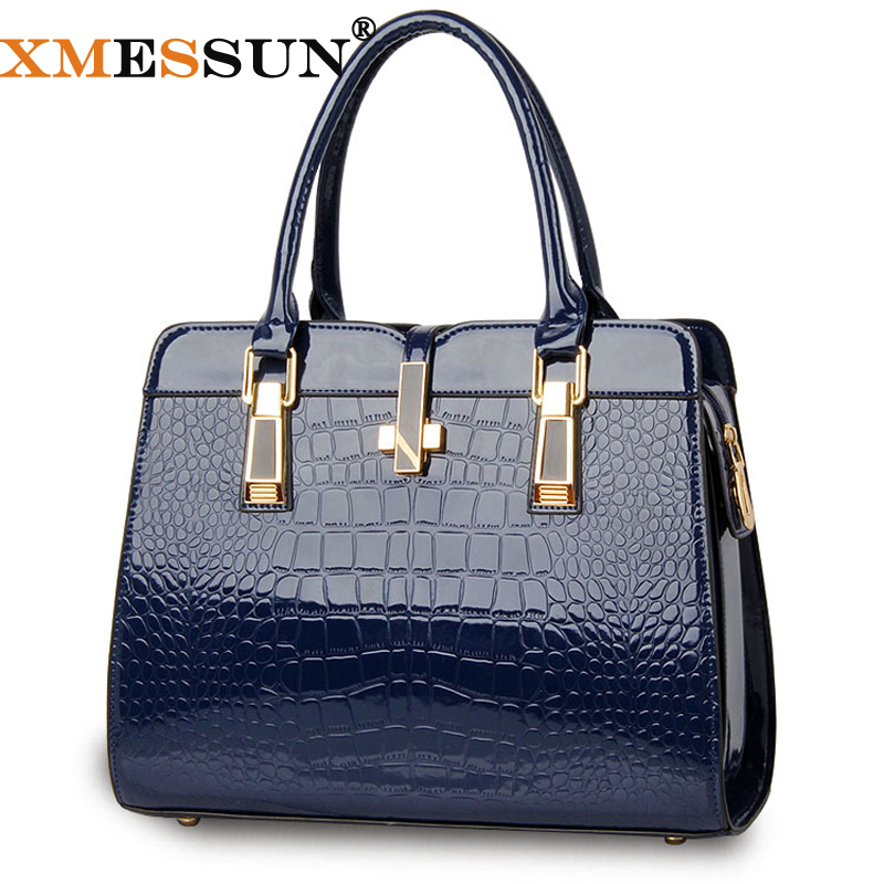 Luxury Gift Patent Leather Bag Lady Crocodile Tote Women Leather Handbags Messenger Bags Bolsas Famous Brand(China (Mainland))