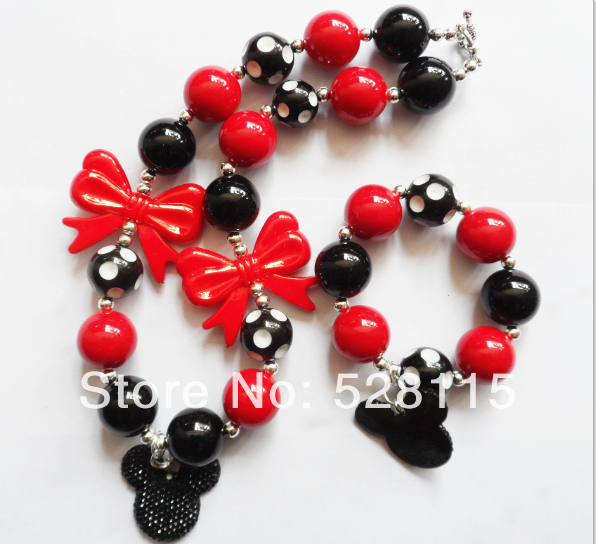 2set/lots red bowknot pendant solid color beads chunky necklace&bracelet set jewelry,Dot beaded kids black&white! - Fashion's Jewelry store