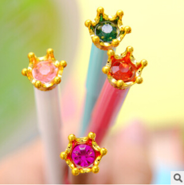 Cute crown diamond Rollerball pen Ballpoint Pens for Kids Children Students Kawaii School Stationery Ball Pens Accessories(China (Mainland))