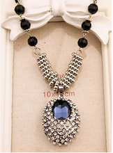 GR JEWELRY Wholesale Crystal Rhinestone Necklace For Women Long Necklace Bead Chain Free Shipping(China (Mainland))
