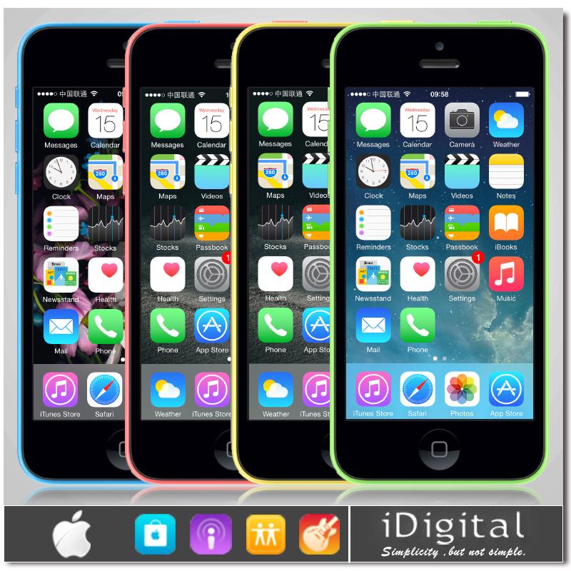 "Original Apple iPhone 5C Unlocked Mobile Phone 16GB/32GB Dual Core IOS 8 4.0""IPS 8.0MP 1080P WIFI GPS Smartphone(China (Mainland))"