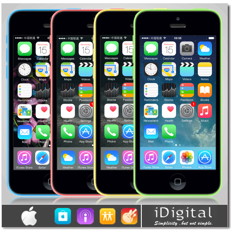 "Original Apple iPhone 5C Unlocked Mobile Phone 16GB/32GB Dual Core IOS 8 4.0""IPS 8.0MP 1080P WIFI GPS Smartphone(China (Mainland))"