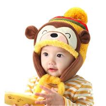 2015 Cute Newborn Crochet Fashion Winter Warm Kids Baby Girls Boys Ear Thick Knit Beanie Cap Hat(China (Mainland))