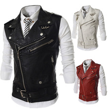 New Men's Fashion Leather Vest Jackets Man Sleeveless Motorcycle Tank Tops Spring Autumn zipper decoration Outerwear Coats(China (Mainland))