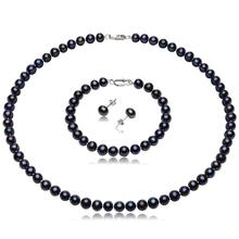New Arrival Fine Freshwater Pearl Jewelry Set Women's 925 Sterling Silver Earrings with 6mm-7mm Black Freshwater Pearl