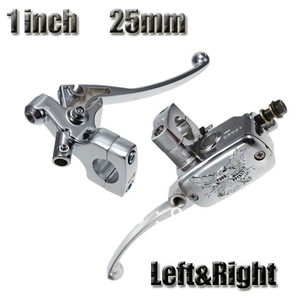 1 Pair Universal Chrome 1 Motorcycle Handlebar Brake Master Cylinder Clutch Lever Set<br>