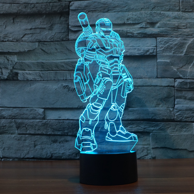 Creative 3D illusion Lamp LED Night Light 3D Cannon Iron Man Acrylic Discoloration Colorful Atmosphere Lamp Novelty Lighting(China (Mainland))