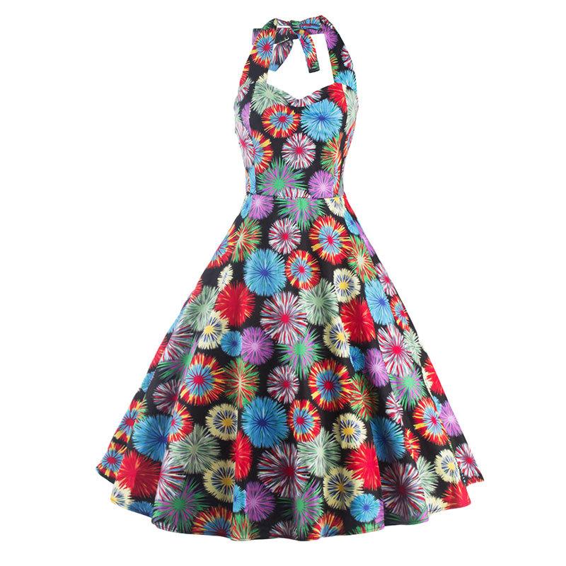 Plus Size Women Dress 50s Vintage Rockabilly Floral Casual Print Swing Summer Dresses Halter Elegant Tunic Vestidos 2016 New - 3D Collection Store store