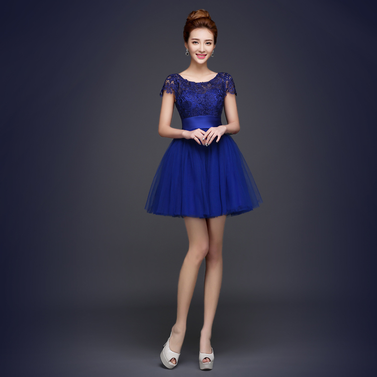 Buy cheap short 2016 royal blue for Royal blue short wedding dresses