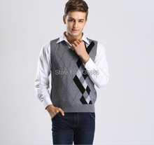 2015 High quality autumn new V neck sleeveless mens argyle cashmere sweater vest