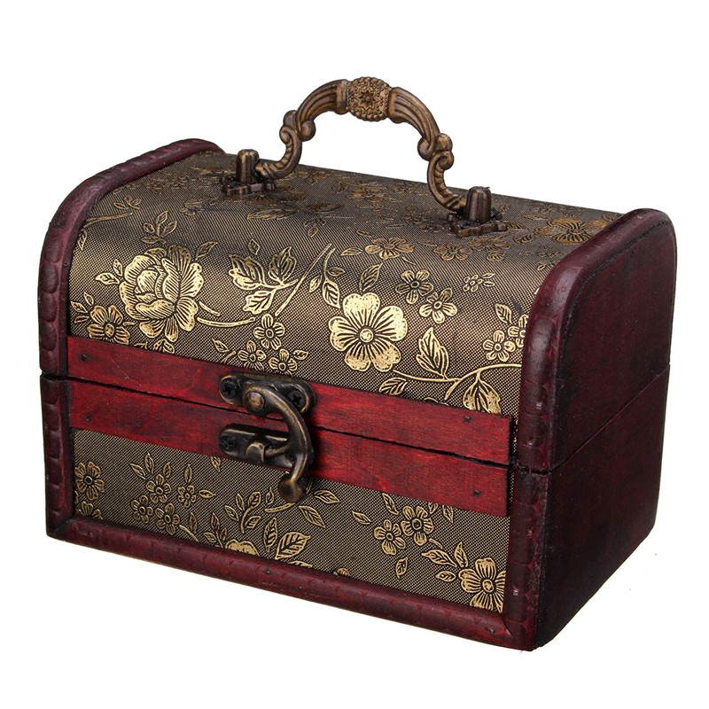 Vintage Treasure Pearl Jewelry Storage Wood Box Organiser Cherry Flower Pattern Wooden Decor Boxes Case With Lock(China (Mainland))