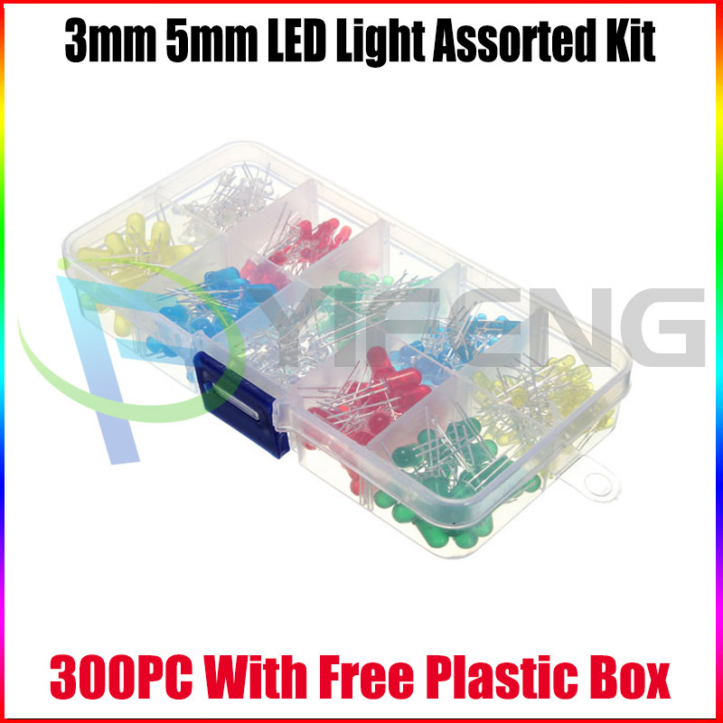 300PC/Lot 3MM 5MM Led Kit Mixed Color Red Green Yellow Blue White Light Emitting Diode Assortment Box - Shenzhen Yi Feng science Co.,Ltd store