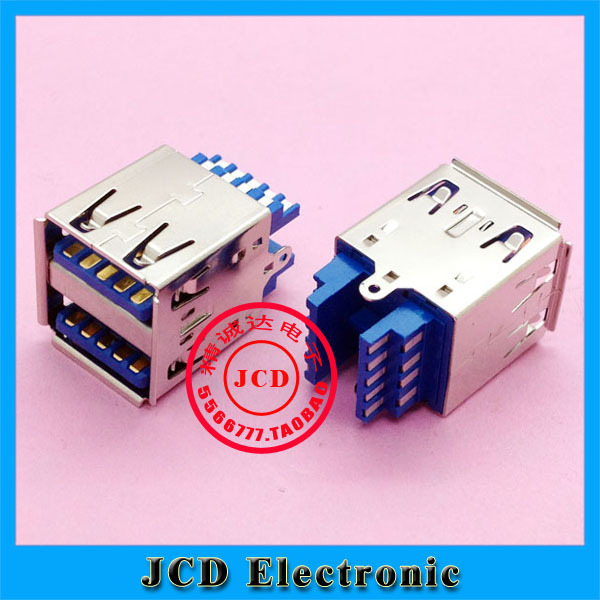 Original New Double USB 3.0 Connector USB Socket two-layer USB3.0 female Jack AF type(China (Mainland))