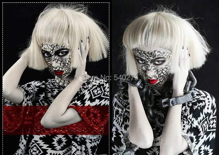 Short Kinky Straight Taro Lady Gaga wig 100% high temperature fiber women fashion party Synthetic hair wigs black / blonde color - HD online Store store