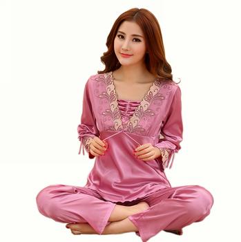 Женщины сексуальный приталенный шелк пижама пижамы комплект для дома гостиная пуловер ...