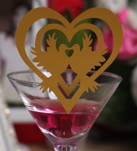 Free shipping Wholesale 240pcs  Love Birds wedding place cards for wine glass decoration wedding stuff unique party supplies
