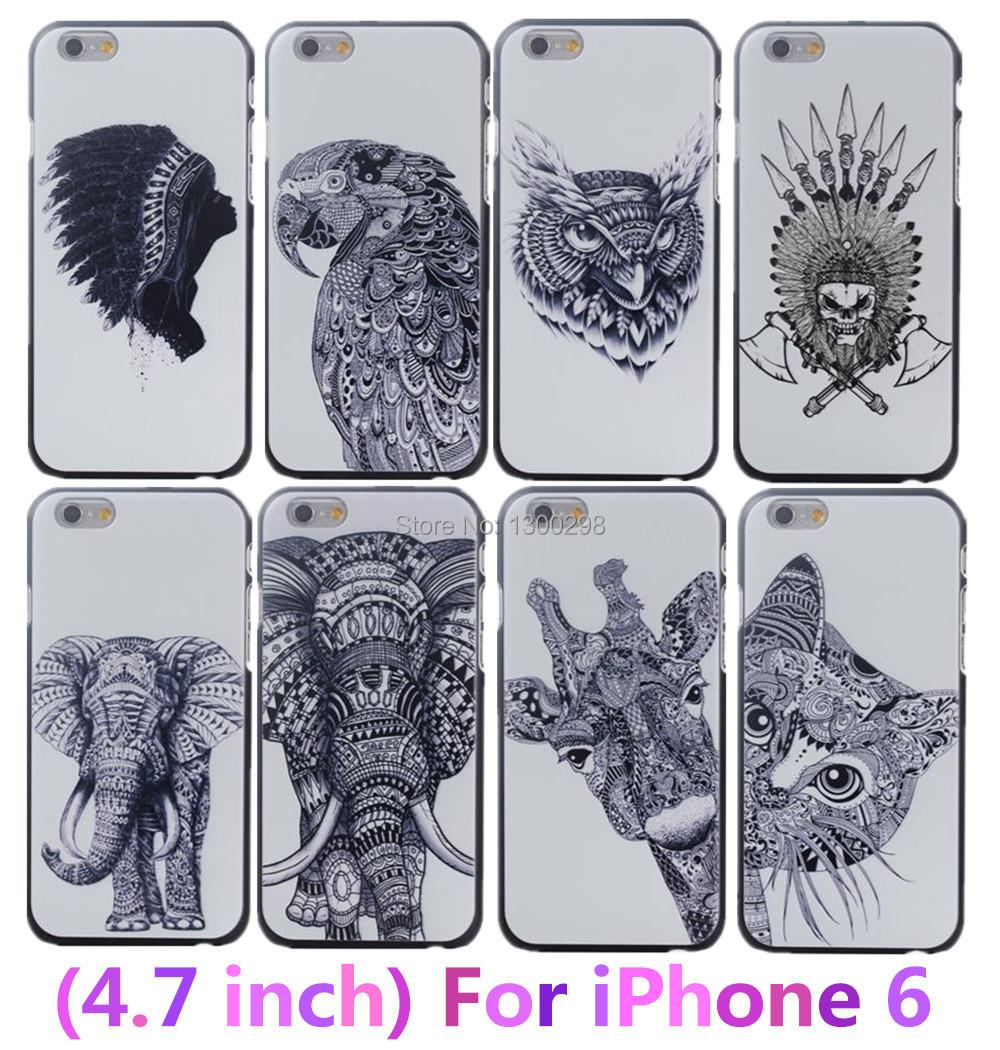 4.7 inch For Apple i Phone iphone 6 Case New Style 3D cute Cartoon Animal world logo giraffe Elephant OWL Phone Case Cover(China (Mainland))